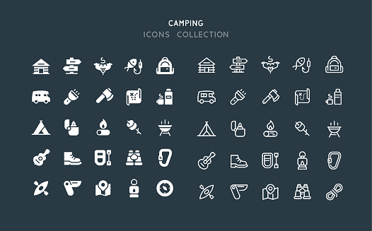 Flat & Line Camping Icons