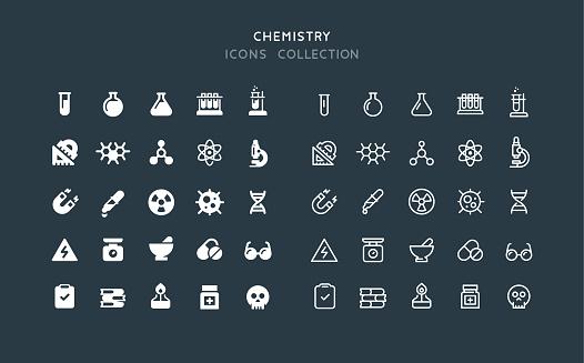 Flat & Line Chemistry Icons