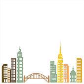 Flat Line City Street Landscape View Concept with Buildings, Roads. City landscape with colorful houses