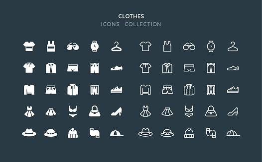 Flat & Line Clothes Icons