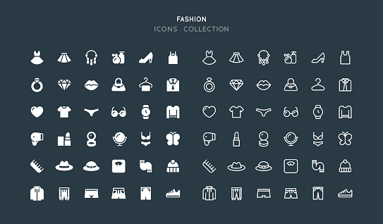 Flat & Line Clothing Accessories Fashion Icons