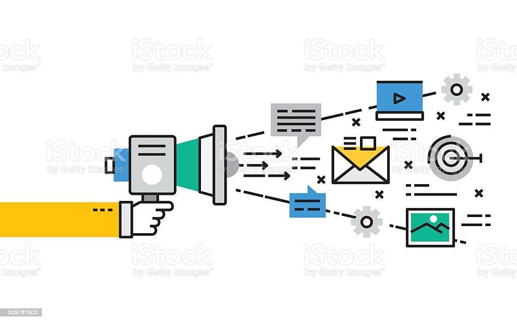 Flat line Collection design concept for Digital Marketing vector art illustration