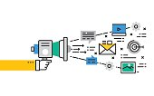 Flat line Collection design concept for Digital Marketing
