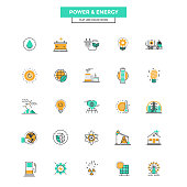 Set of Modern Flat Line icon Concept of Power and Energy use in Web Project and Applications. Vector Illustration