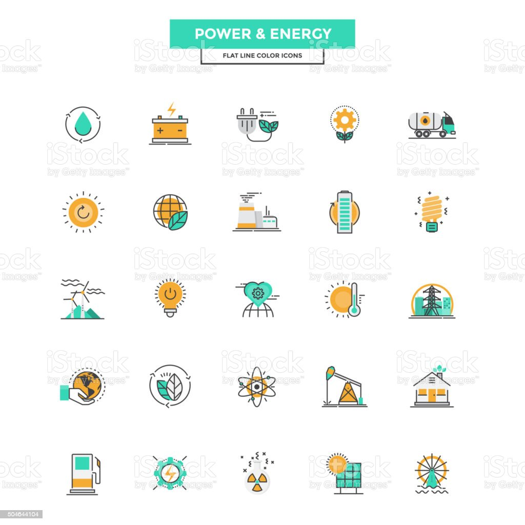 Flat Line Color Icons- Power and Energy vector art illustration