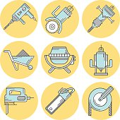 Yellow circle flat line vector icons set of tools and equipment for construction in blue and white colors and black contour on white background.