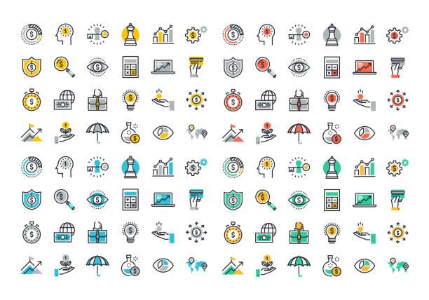 ilustraciones, imágenes clip art, dibujos animados e iconos de stock de colorida colección de iconos de línea plana de negocios y finanzas - planificación financiera