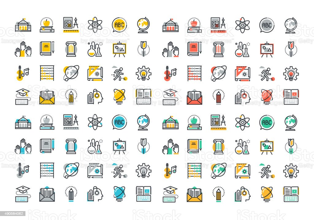 Flat line colorful icons collection of education vector art illustration