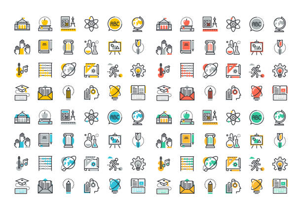 flat line colorful icons collection of education - science class stock illustrations, clip art, cartoons, & icons