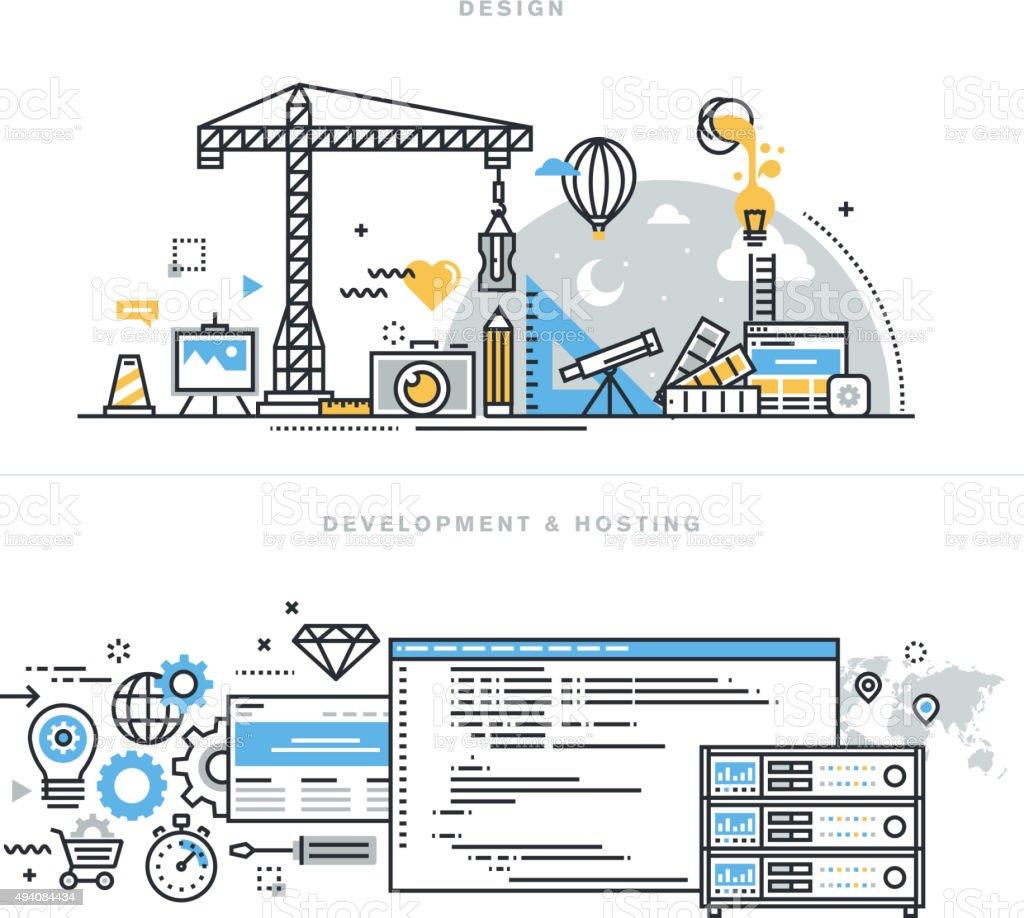 Flache Linie Symbole für Grafik-design und website-Entwicklung und Durchführung – Vektorgrafik