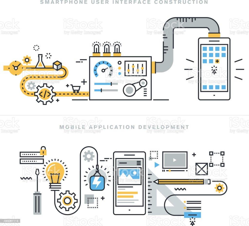 Conceptos de línea plana para web y móvil de desarrollo de aplicaciones - ilustración de arte vectorial