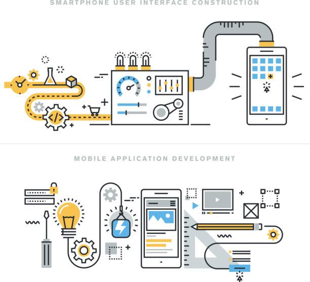ilustrações, clipart, desenhos animados e ícones de conceitos de linha plana para website móvel e desenvolvimento de aplicativos - mecânico