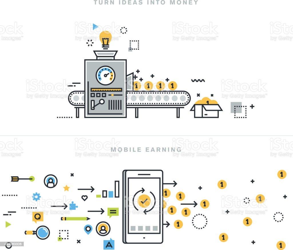 Conceptos de línea plana para ganar en línea, turning idea en dinero - ilustración de arte vectorial