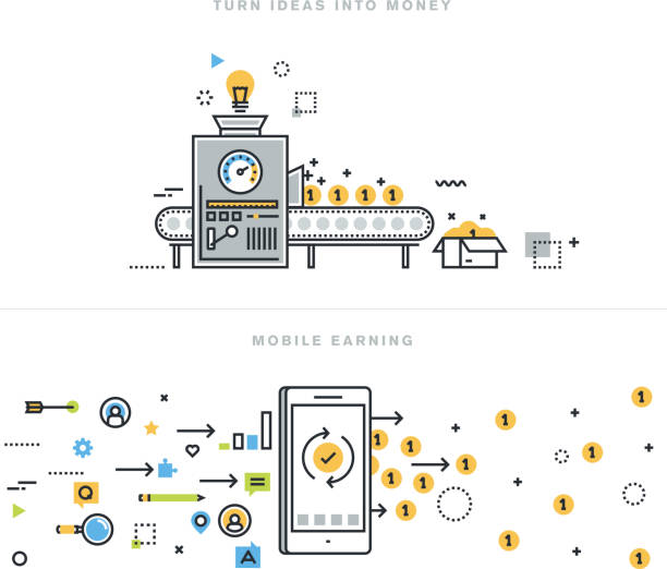 flat line concepts for online earning, turning idea into money - machine stock illustrations, clip art, cartoons, & icons