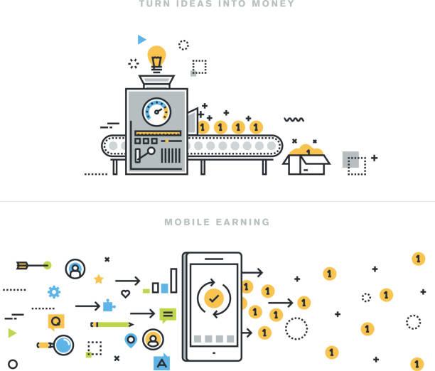 ilustrações, clipart, desenhos animados e ícones de conceitos de linha plana on-line para ganhar, transformar a idéia em dinheiro - mecânico