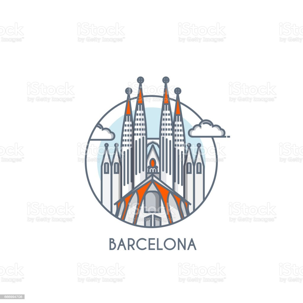 Carte Icom Barcelone.Flat Line Deisgned Icon Barcelona Stock Vector Art More Images Of