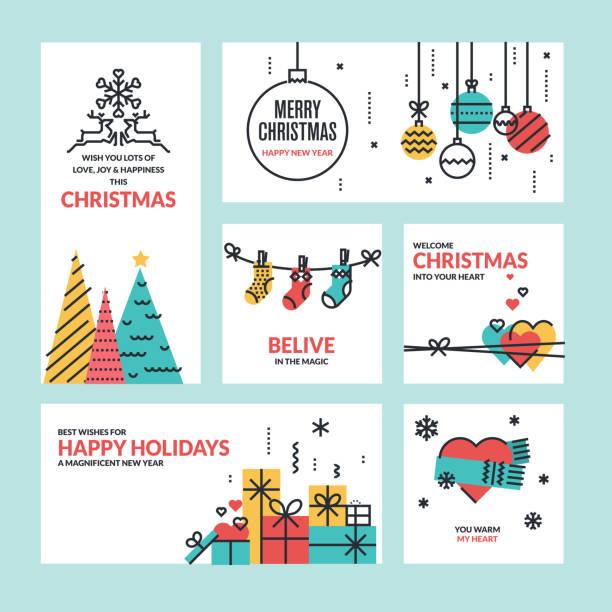 フラットラインデザインのクリスマスと新年のグリーティングカード - 休日/季節ごとのイベント点のイラスト素材/クリップアート素材/マンガ素材/アイコン素材