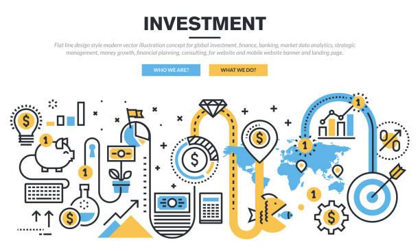 ilustraciones, imágenes clip art, dibujos animados e iconos de stock de concepto de diseño línea plana para global de inversiones - planificación financiera