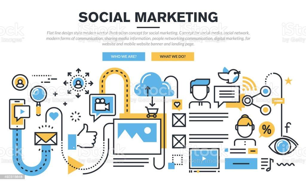 Flat line design concept for social marketing vector art illustration