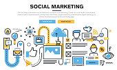 Flat line design concept for social marketing