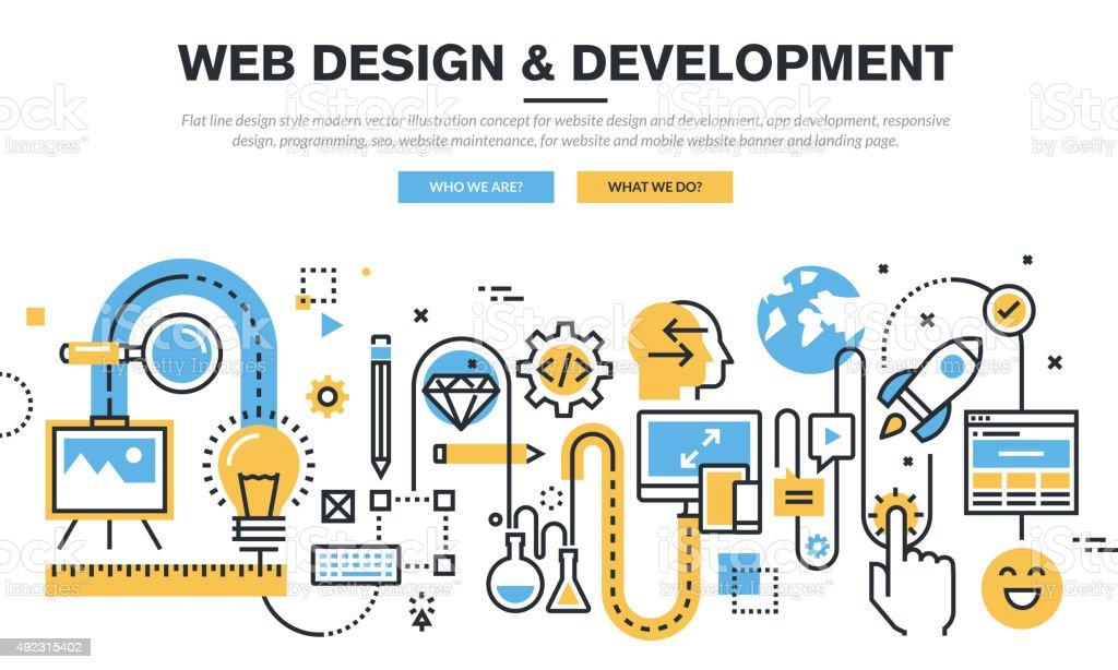 Flat line design concept for website design and development vector art illustration