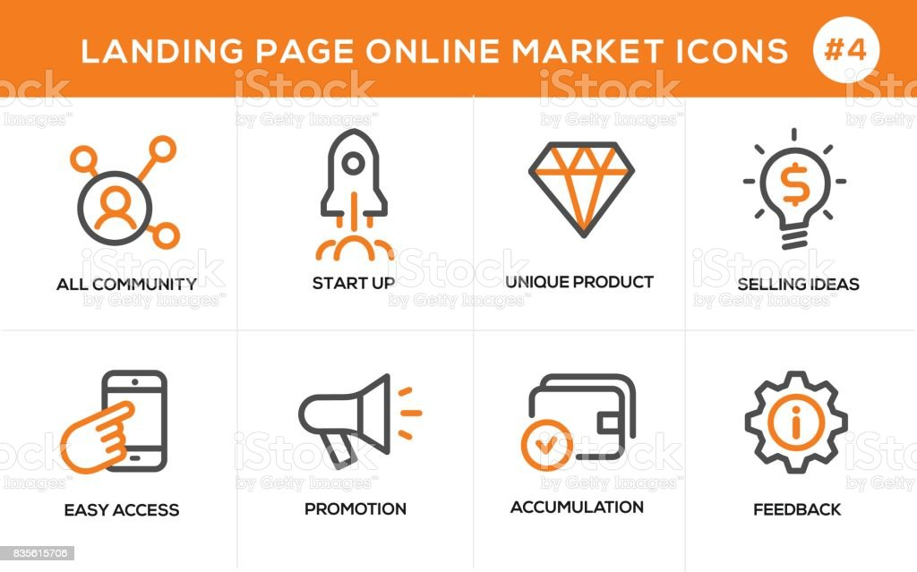 Flat line design concept icons for online shopping, website banner and landing page vector art illustration
