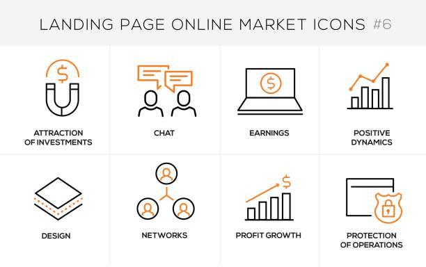 Icônes du concept design plat ligne achats en ligne, la bannière de site et la page de destination - Illustration vectorielle