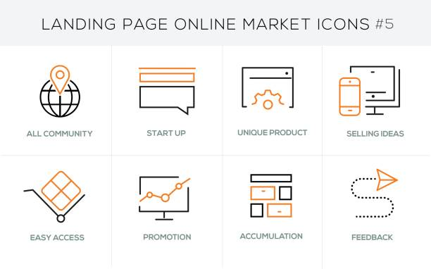 Flat line design concept icons for online shopping, website banner and landing page Flat line design concept icons online shopping, e-commerce m-commerce services, payment procedure, support, delivery process, online order procedure, website banner and landing page bonus march stock illustrations