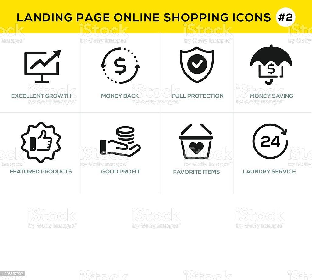 Linha de ícones de conceito de projeto plano para compras on-line, no site Bandeira - ilustração de arte em vetor