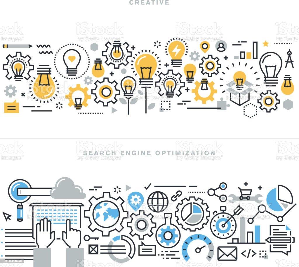 Ligne de concepts de design plat pour processus créatif et de travail séparés - Illustration vectorielle