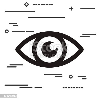 istock Flat Line design graphic image concept of eye icon on a white ba 1304967983