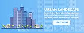 Flat Line design graphic image concept, website elements layout of Urban Landscape. Icons. Vector Illustration.