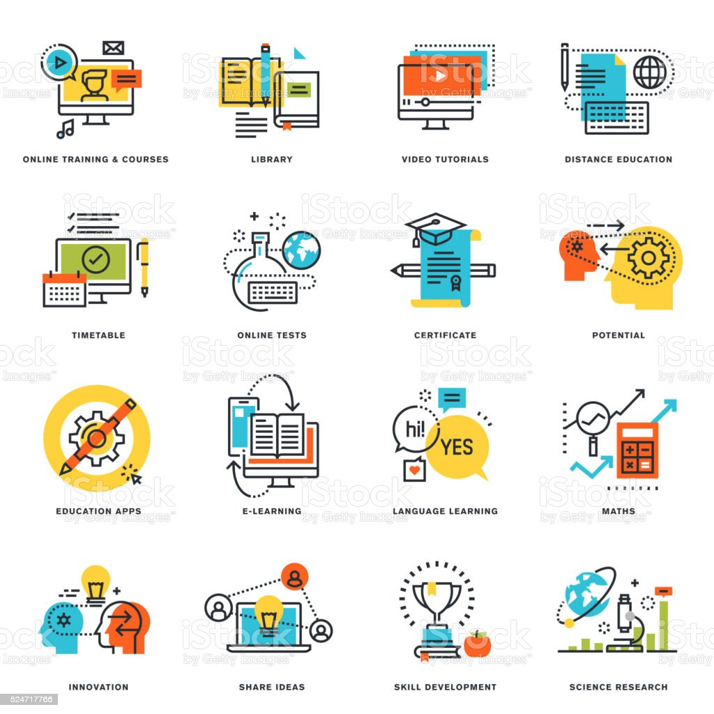 Flat line design icons of online education and e-learning vector art illustration