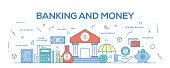 Flat line design illustration concept of Banking and Money. Banner for website header and landing page.