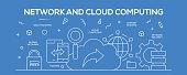 Flat line design illustration concept of Cloud Computing. Banner for website header and landing page.