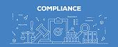 Flat line design illustration concept of Compliance. Banner for website header and landing page.