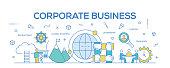Flat line design illustration concept of Corporate Business. Banner for website header and landing page.