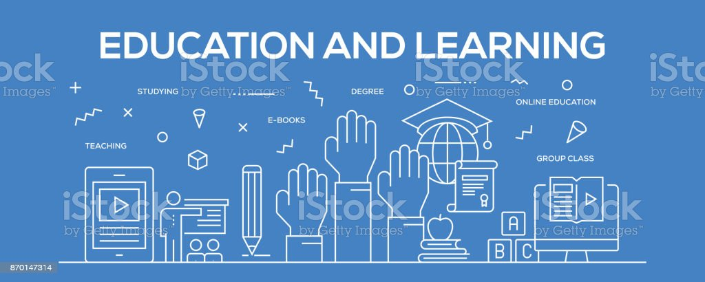 Flat Line Design Illustration Concept Of Education And Learning Banner For Website Header And Landing Page Stock Illustration Download Image Now Istock