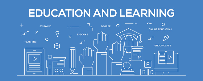 Flat line design illustration concept of Education and Learning. Banner for website header and landing page.