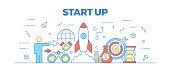 Flat line design illustration concept of StartUp. Banner for website header and landing page.