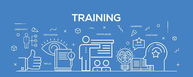 Flat line design illustration concept of Training. Banner for website header and landing page.