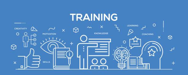 illustrations, cliparts, dessins animés et icônes de ligne plate illustration concept de formation. bannière d'en-tête de site web et la page de destination. - formation des adultes
