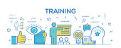 Flat line design illustration concept of Training. Banner for website header and landing page.