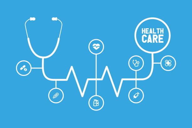 ilustrações, clipart, desenhos animados e ícones de linha lisa desenho infográfico de saúde-faixa. - infográficos de medicina