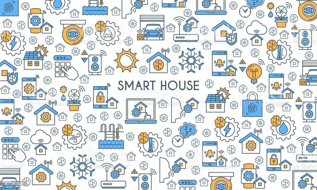 Flat Line Design Smart Home Banner Stock Vector Art & More Images of ...