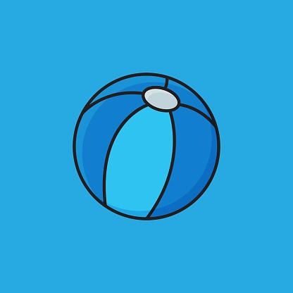 Flat Line Design Style Beach Ball Icon, Outline Symbol Vector Illustration