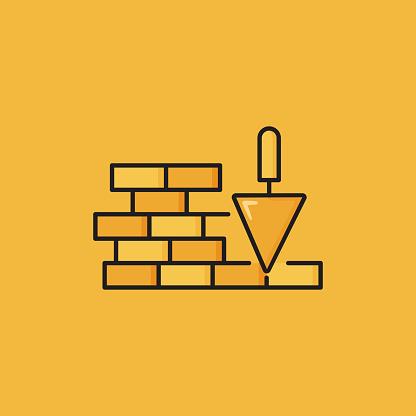 Flat Line Design Style Brickworks Icon, Outline Symbol Vector Illustration