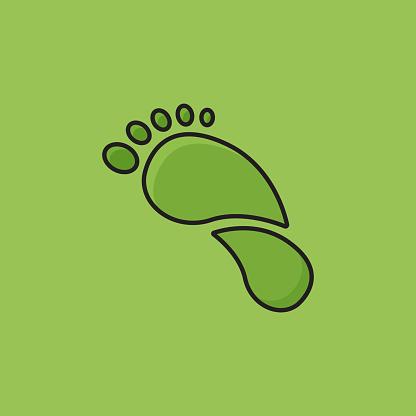 Flat Line Design Style Carbon Footprint Icon, Outline Symbol Vector Illustration