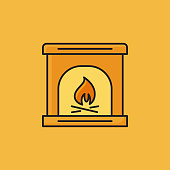 istock Flat Line Design Style Fireplace Icon, Outline Symbol Vector Illustration 1272305367