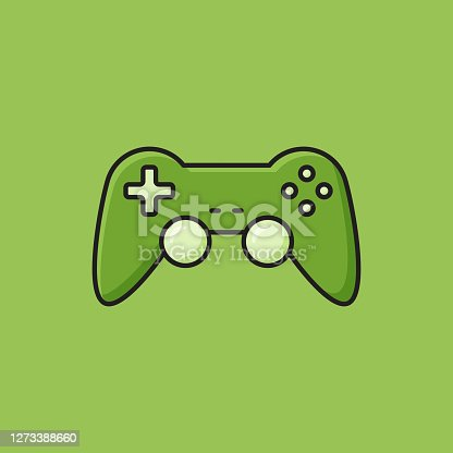 istock Flat Line Design Style Gamepad Icon, Outline Symbol Vector Illustration 1273388660